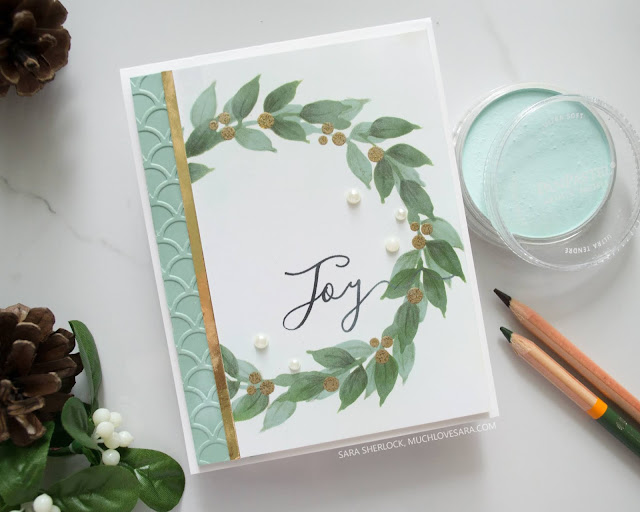 This elegant stenciled, embossed, and stamped Christmas card features the Wonderful Wreath stencil from Altenew, and the Holiday Script Stamp Set from Fun Stampers Journey.