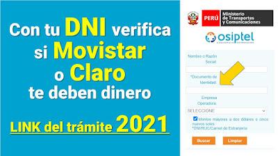 Con tu DNI verifica si Movistar o Claro te deben dinero LINK del trámite 2021