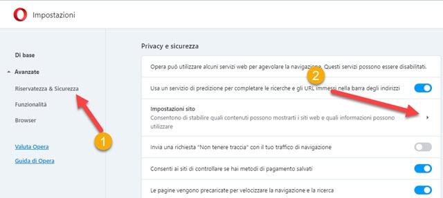 impostazioni dei siti su opera browser