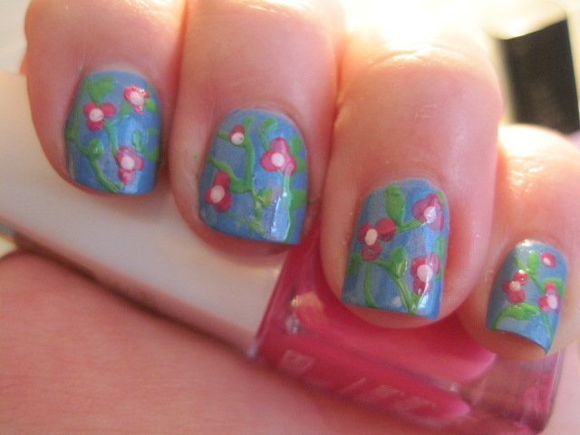 ładne paznokcie, wonderful nails,beautiful nails, flower on nails