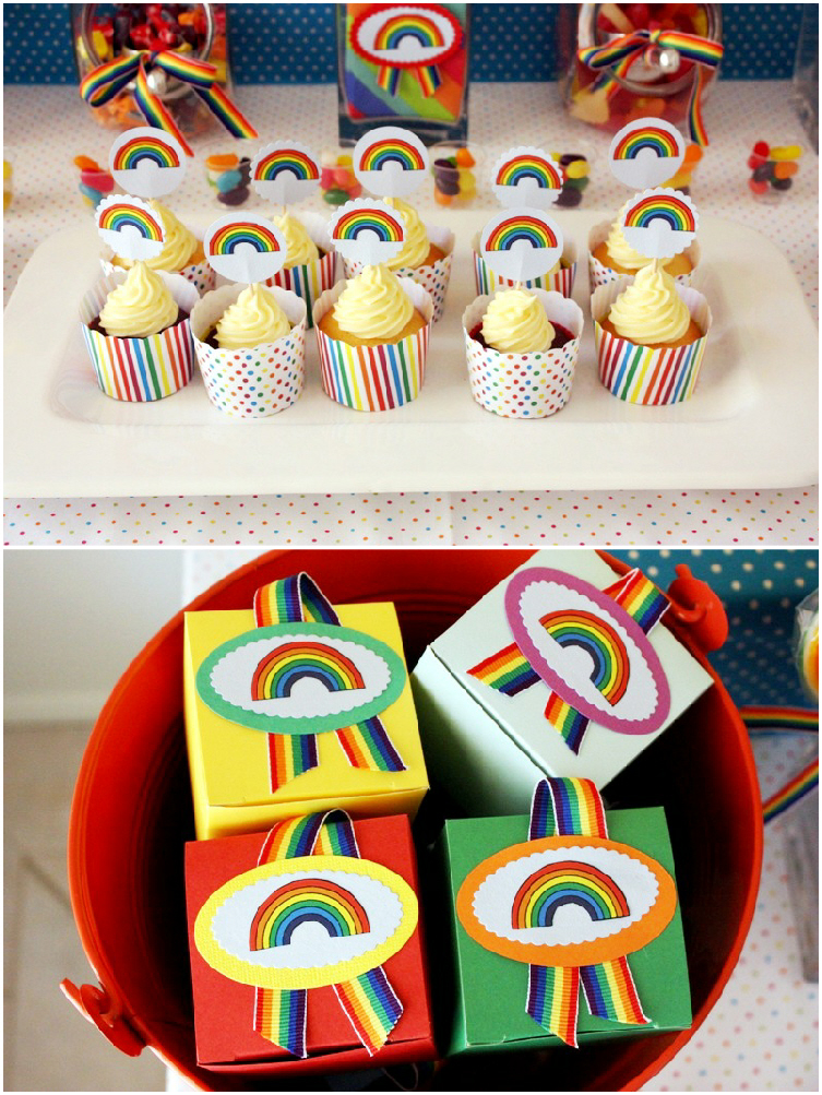 Rainbow Party and DIY Desserts Table party favors - BirdsParty.com