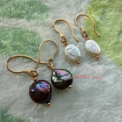 Wire wrapped coin and baroque pearl dangle earrings with vacuum plated stainless steel wire