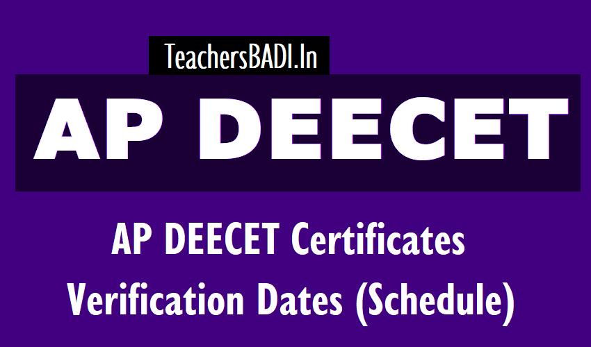 AP DEECET 2019 Certificates Verification Dates /Schedule