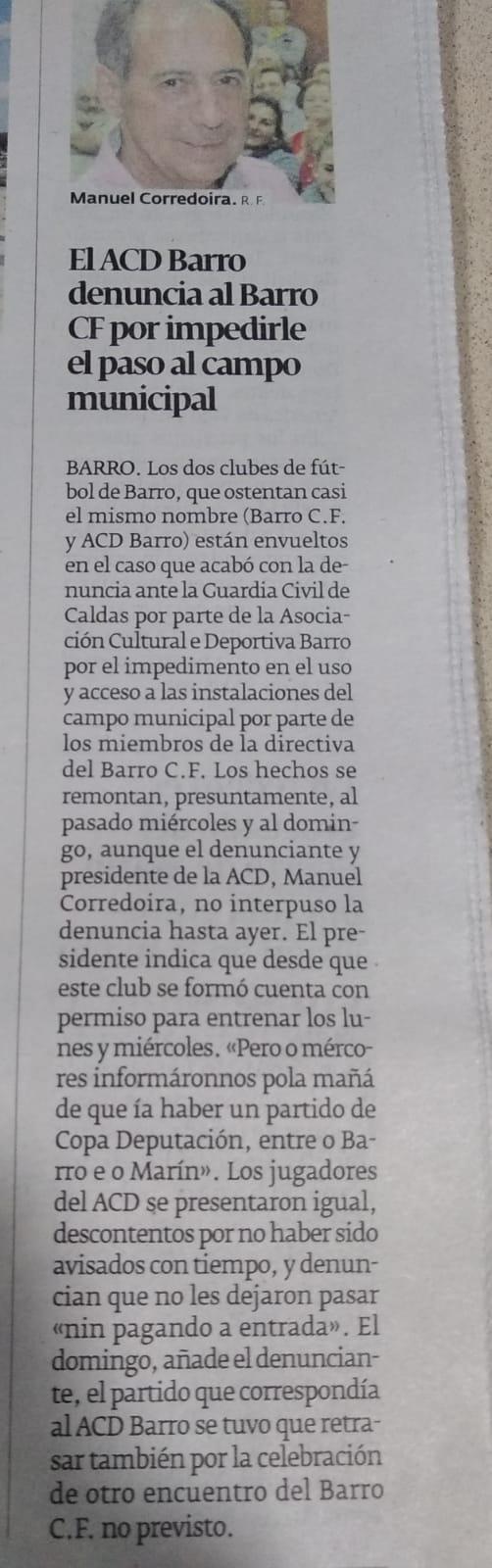 El ACD Barro denuncia a BARRO CF por impedirle el paso al campo municipal