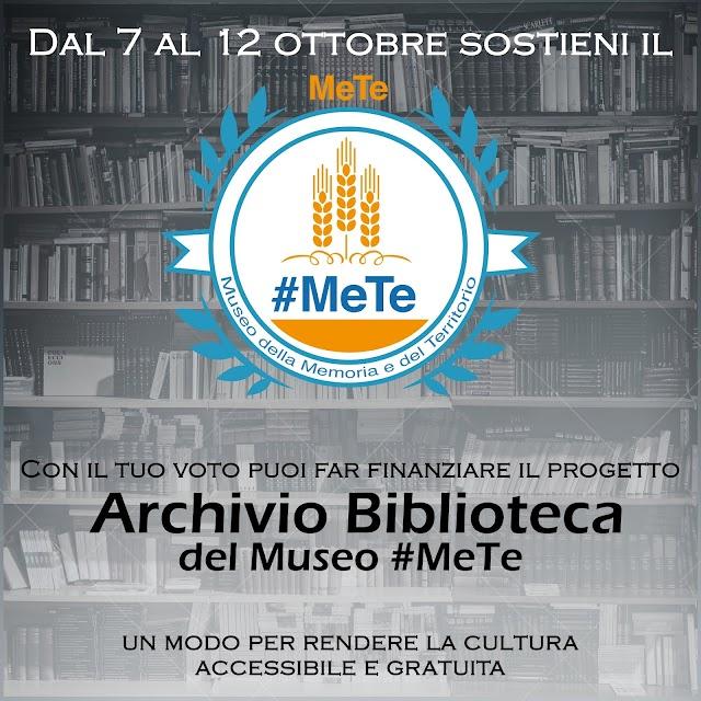 Archivio-Biblioteca del Museo #MeTe: dal 7 al 12 ottobre i cittadini potranno votare per finanziare il progetto