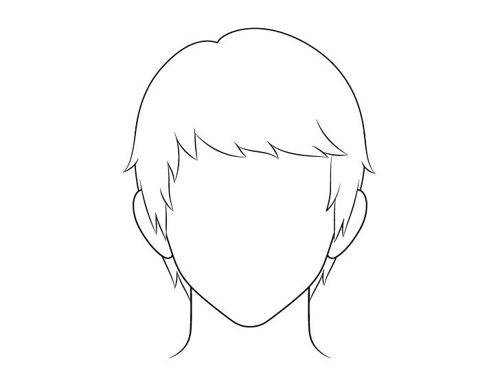 Anime menyisir gambar garis rambut pria