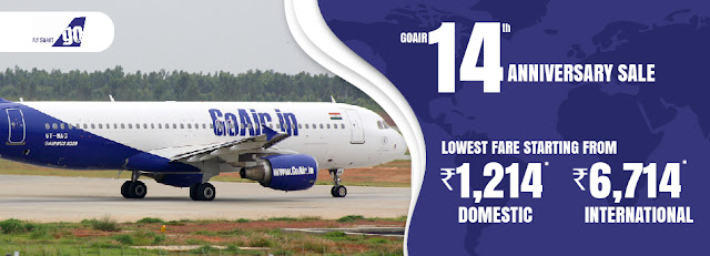 Lowest Fares starting at Rs 1,214*GoAir 14th Anniversary SaleJOIN THE CELEBRATIONS AT UNBELIEVABLE LOWEST DOMESTIC FARES STARTING AT RS 1,214 AND INTERNATIONAL FARES STARTING AT RS 6,714*More details:Booking period: 4th November - 6th November 2019 Travel Period: 13th November - 31st December 2019 Hurry, Book Now Terms & Conditions: Seats are limited and available on a first-come, first-serve basis. Flight Seats are subject to availability and fares are subject to change without prior notice. Date change, Rebooking, Refund charges and Cancellation charges will be applicable as per the fare rules. The terms and conditions of this offer are subject to change without any prior notice., GoAIr Sale, domestic and international air ticket, railway ticket, hotel booking - call us on 8000999660. aksharonline.com