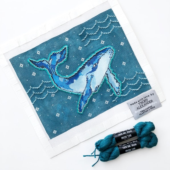 Blue Mimi the Whale handpainted needlepoint canvas by Thorn Alexander