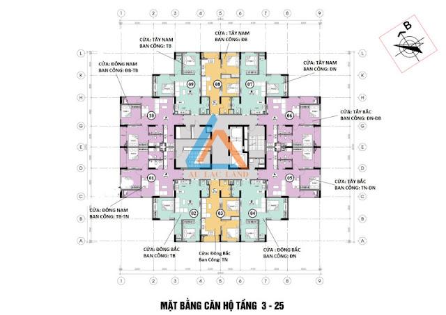 Thiết kế mặt bằng căn hộ điển hình Mipec Kiến Hưng Hà Đông