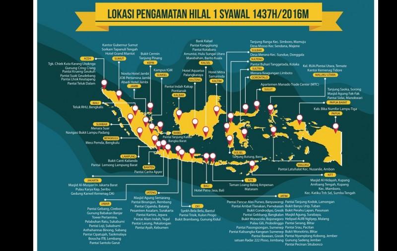 Lokasi Pantauan Hilal untuk menetapkan 1 Syawal 1437H