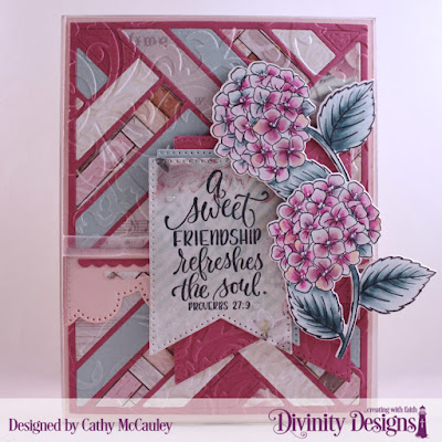 Divinity Designs Stamp/Die Duos: In My Heart, Paper Pad Collection:  Romantic Roses, Embossing Folder: Flourishes, Custom Dies: Quilted Background, Large Banners, Bitty Borders, Cloud Border