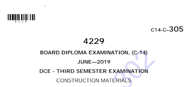 Diploma Construction Materials Previous Question Paper c14 June 2019