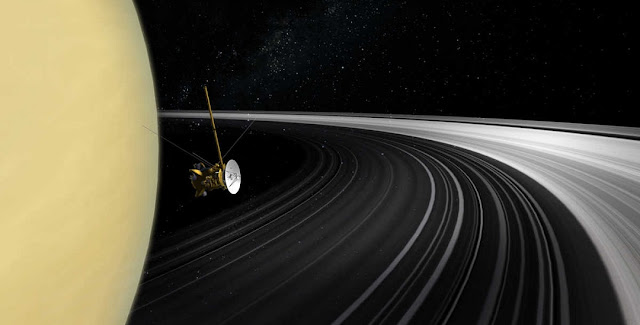 An artist's impression of the Cassini spacecraft among Saturn's rings.