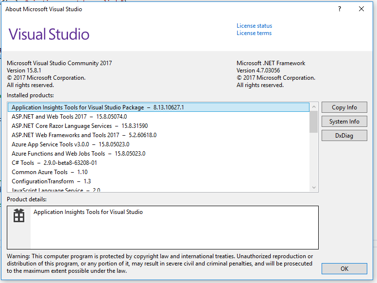 Visual Studio About