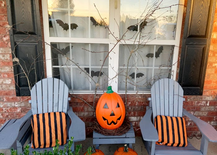 Halloween Porch - blow mold pumpkin, adirondack chairs