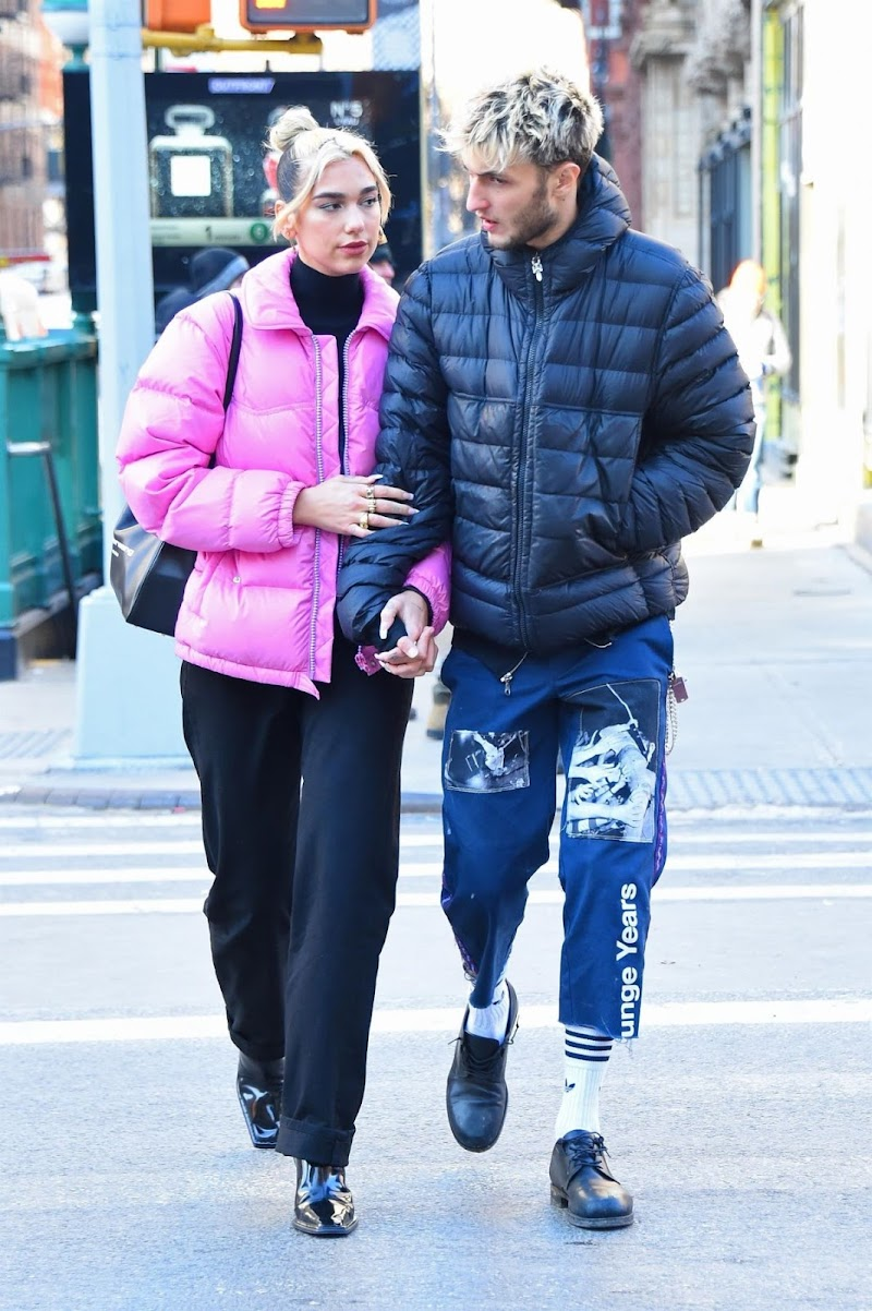 Dua Lipa and Anwar Hadid clicked Outside in New York 20 Dec-2019