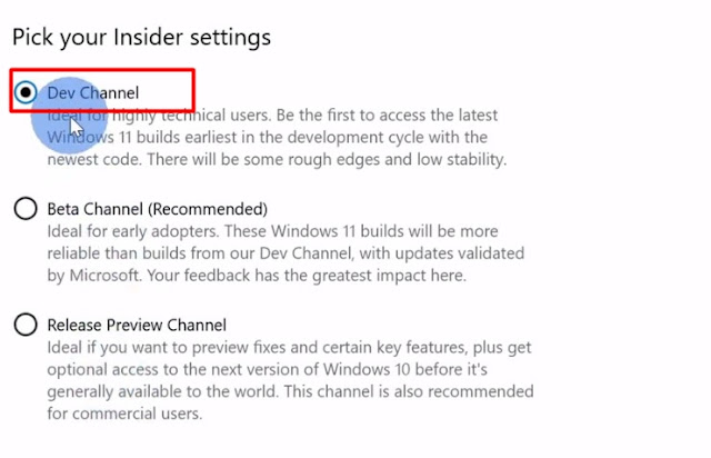 windows insider program dev, beta and preview build channel