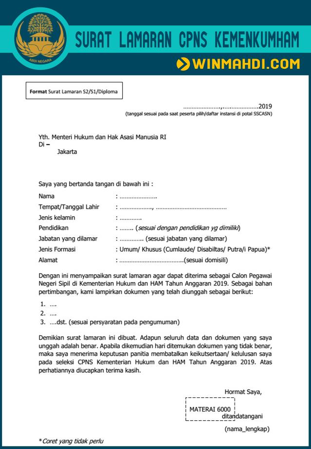 Format Surat Lamaran CPNS Kemenkumham