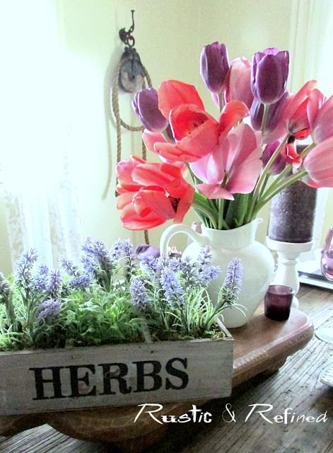 Fresh tulips as a spring centerpiece