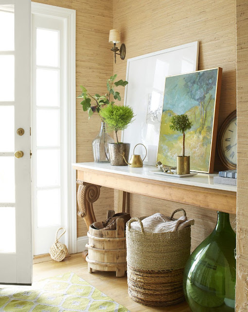 entry with table and home decor