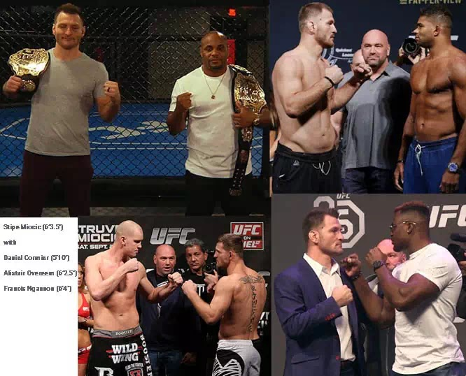 """Stipe Miocic standing with Daniel Cormier (5'10""""), Alistair Overeem (6'2.5""""), Stefan Struve (6'11"""") and Francis Ngannou (6'4"""")"""