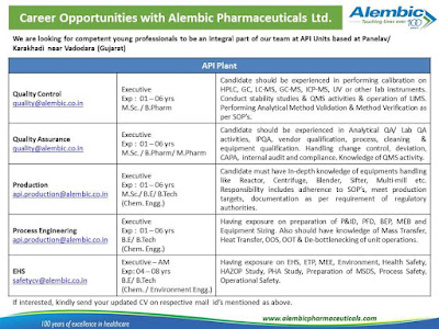 Alembic hire various vacancy for multiple dept for Karakhadi location.