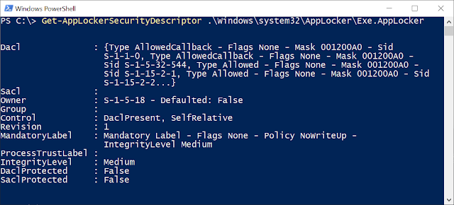 PowerShell console showing the security output by the script from Exe.Applocker policy file.