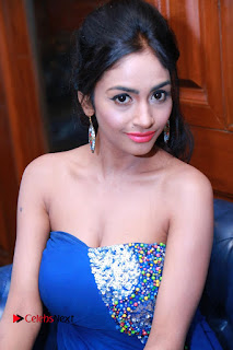 Actress Pooja Sree Pictures in Blue Long Dress at Chocolate Boy Friendship Day Event  0051
