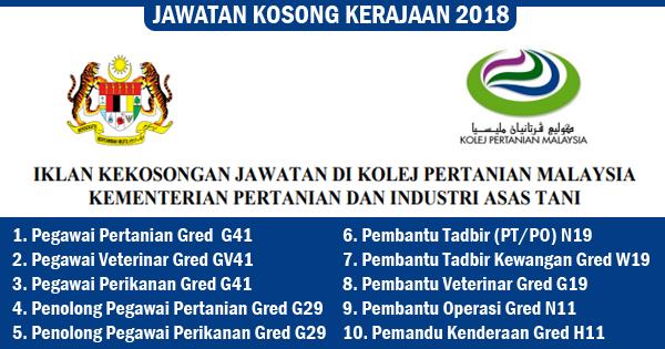 Jawatan Kosong 2018 Kolej Pertanian Malaysia