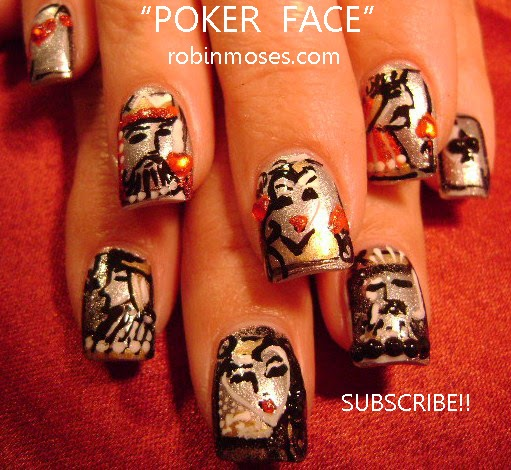 """Robin Moses Nail Art: """"gaga nails"""" """"pokerface nails ..."""