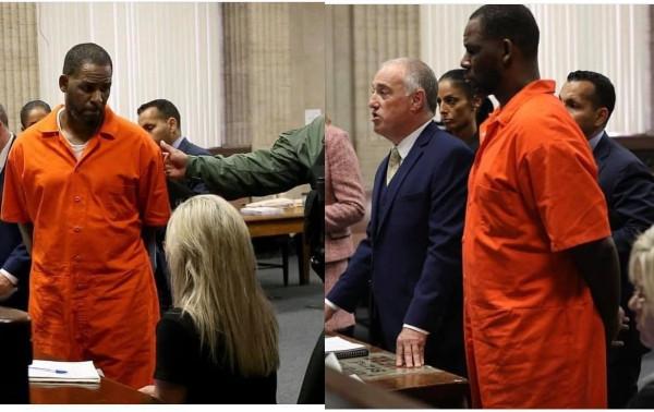 Photos of R.Kelly handcuffed and in prison outfit as he appears in court