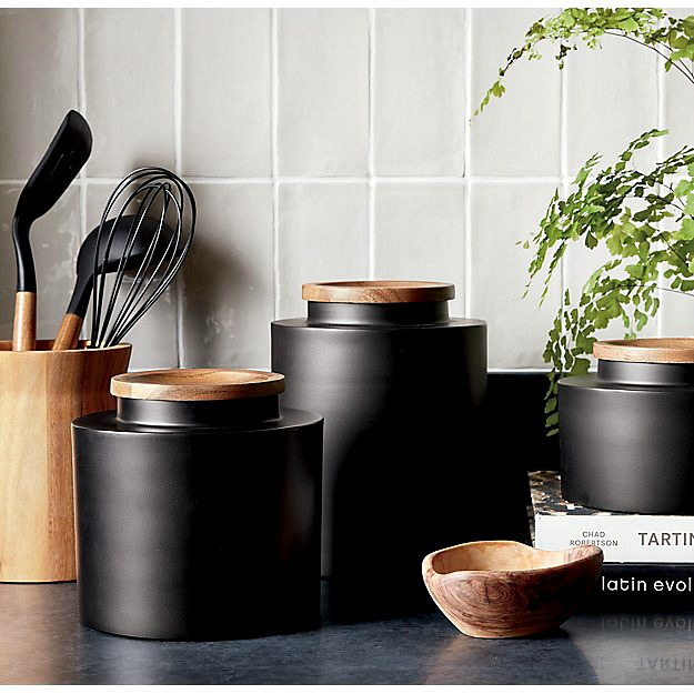 Matte black kitchen canisters