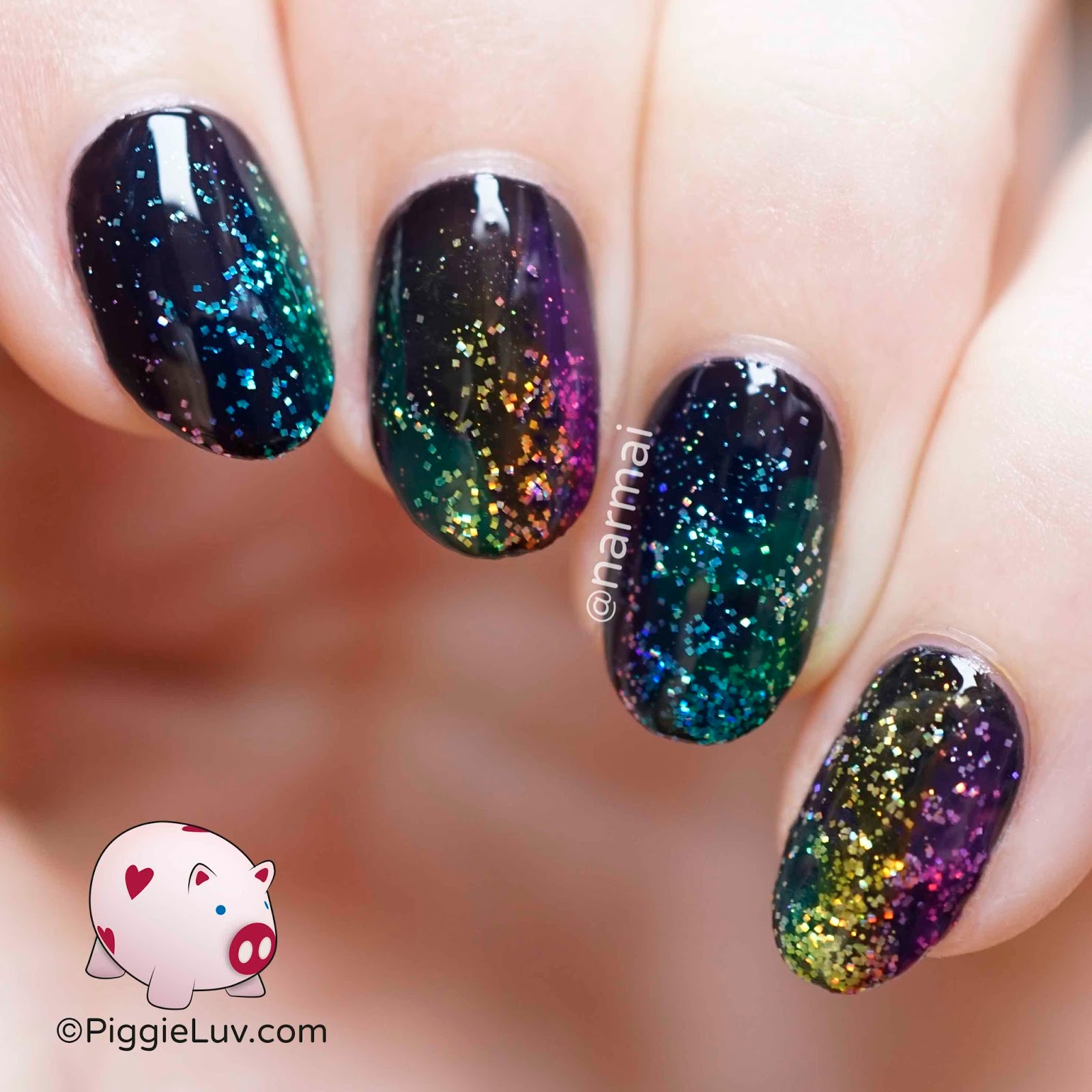 PiggieLuv: Scattered rainbow glitter nail art