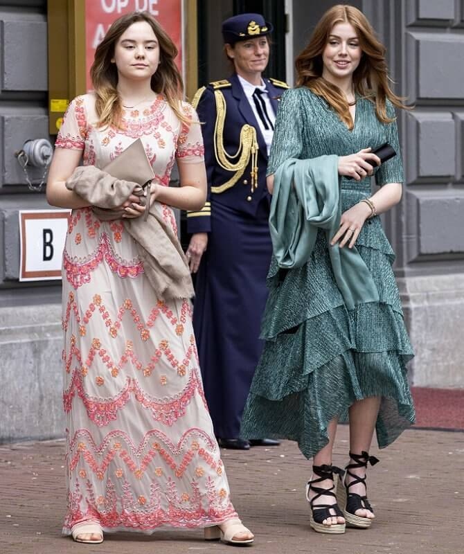 Princess Amalia and Princess Ariane in maxi dress by Needle & Thread, Princess Alexia in green dress by Maje, Maxima in blue dress by Iris van Herpen