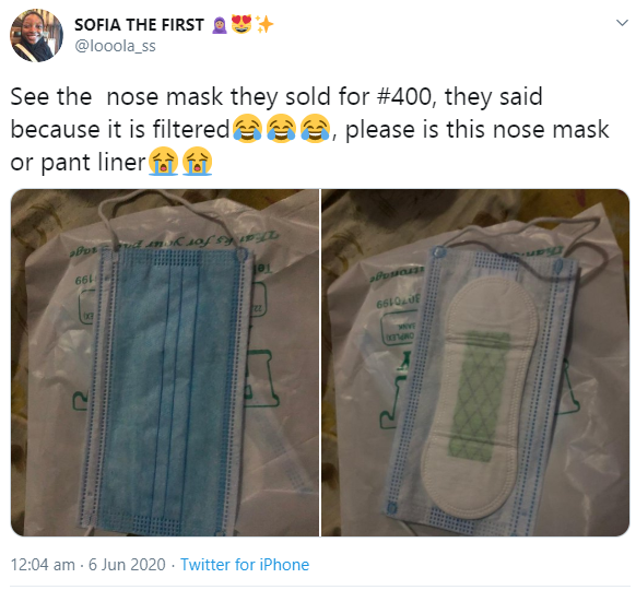 "A Twitter user has shared photos of the ""filtered"" nose mask sold to her for 400 Naira a piece."