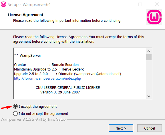 Accept Agreement in Wamp Server  and click next
