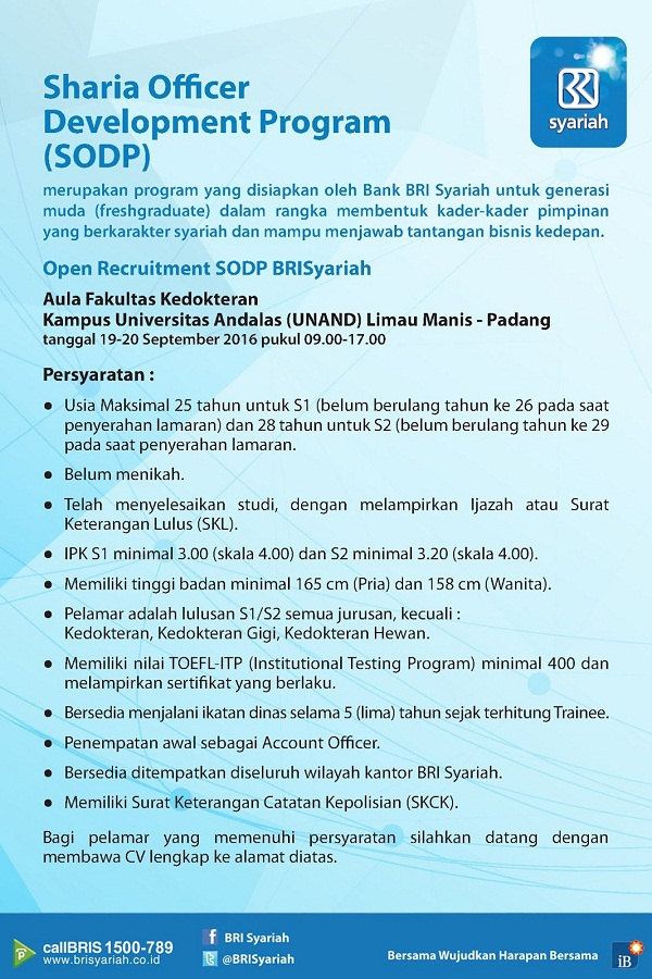 Lowongan Kerja PT Bank Bri Syariah Fresh Graduate