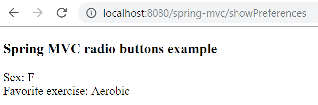 Spring MVC radiobuttons example