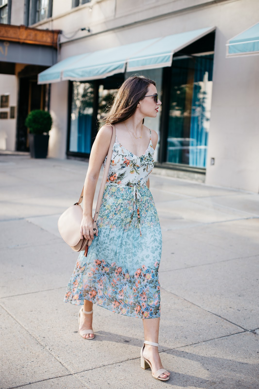 Taking my new ditzy print Oasis dress for a summer stroll through Boston