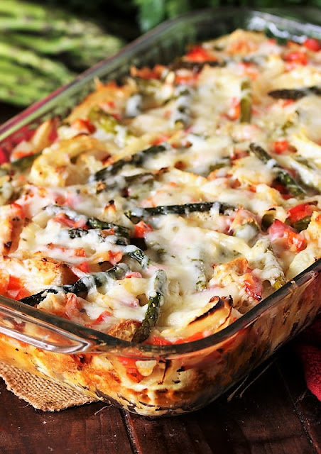 Overnight Asparagus Breakfast Casserole with Ham in Baking Dish Image