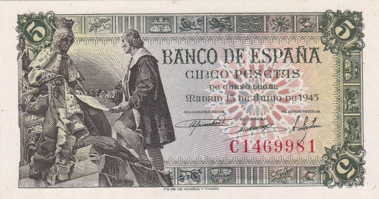 Spain Banknotes 5 Pesetas banknote 1945 Monument to the Capitulations of Santa Fe, Granada
