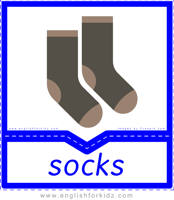 Socks - English clothes and accessories flashcards for ESL students