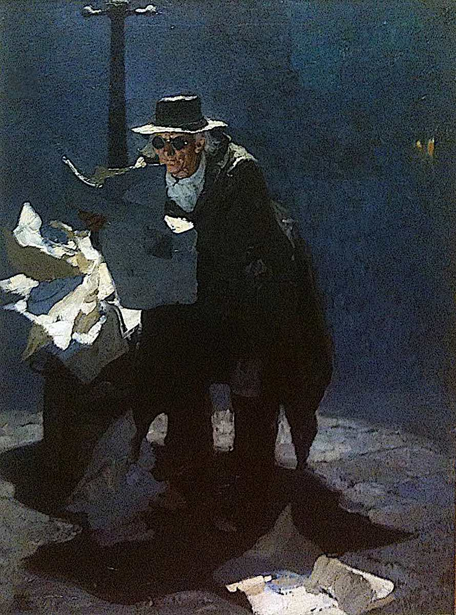a blind man at night with a newspaper by Dean Cornwell