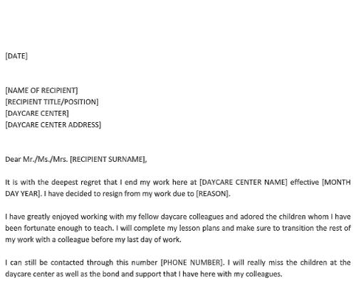 Daycare Resignation Letter