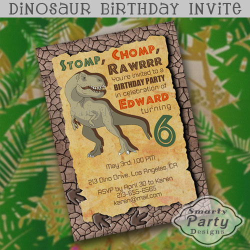 Super Cool Boys Dinosaur Birthday Invitation Featuring T Rex On A Grunge Torn Edge Parchment Paper With Dried Mud And Footprint Frame