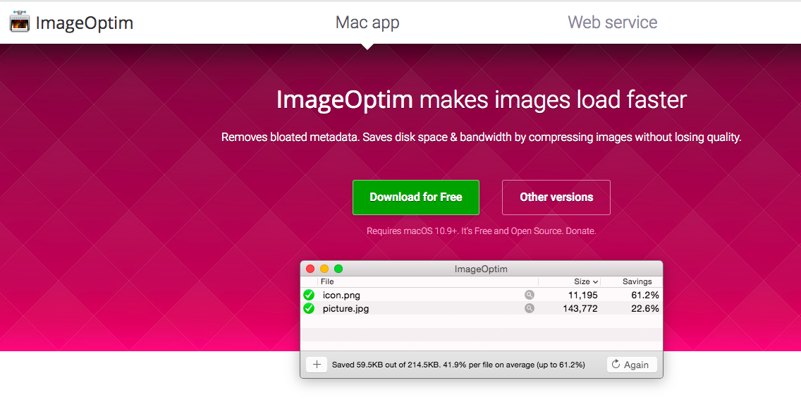 ImageOptim 免費 JPG PNG 圖片壓縮軟體。 Mac批量照片縮圖
