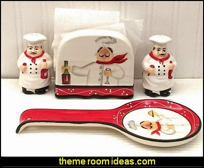 Tuscany Colorful Plump Bistro Chef Hand Painted Stove Top Set