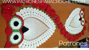 Camino de Mesa con Diseño de Búhos a Crochet