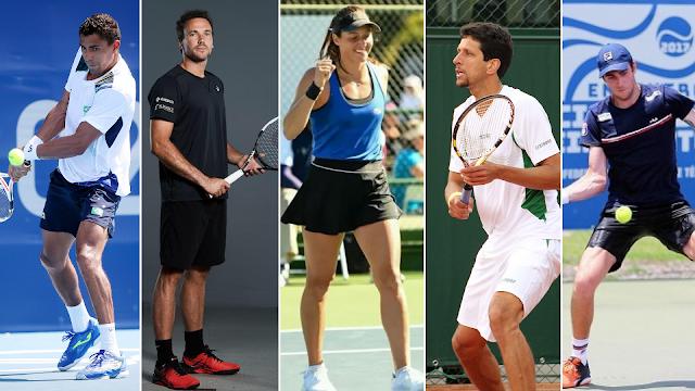 Montagem com a fotos dos cinco representantes do tênis brasileiro no US Open: Thigo Monteiro, Bruno Soares, Luisa Stefani, Marcelo Melo e Marcelo Demoliner