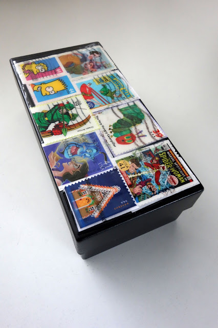 box decorated with postage stamps, cartoon-themed postage stamps, crafting with postage stamps, blah to TADA!